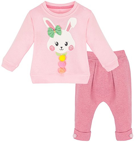 Lilax Baby Girl Easter Bunny Pink T-Shirt and Pant Soft Cotton 2 Piece Outfit Set 12M (Bunny Girls T-shirt)