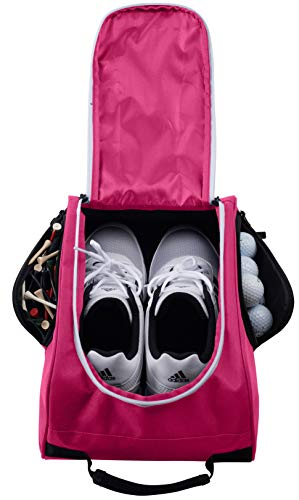 (Athletico Golf Shoe Bag - Zippered Shoe Carrier Bags with Ventilation & Outside Pocket for Socks, Tees, etc. (Pink))