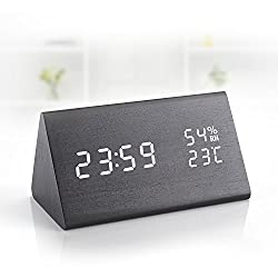 Wooden Digital Alarm Clock with 3 Levels Adjustable Brightness/3 Groups of Alarm Time/Displays Time Date Temperature and Humidity/Triangle Touch /Sound-Controlled/Black