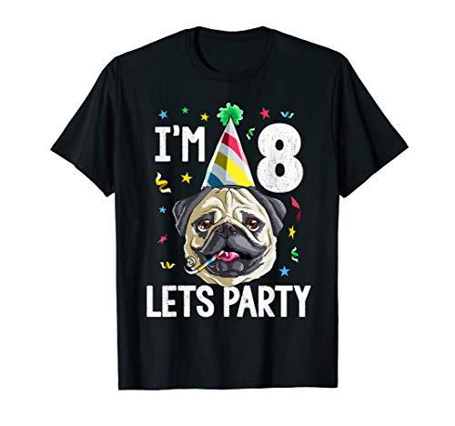 Pug Birthday 8th T Shirt Dog Kids Boys Girls Gift Idea