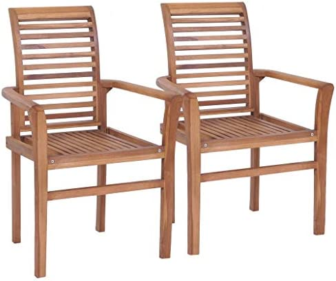 vidaXL 4x Solid Teak Stacking Dining Chairs Kitchen Dinner Furniture Seat