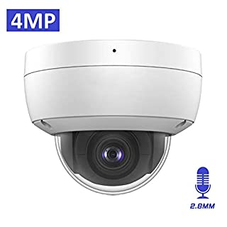 4MP 2K Outdoor PoE IP Camera OEM DS-2CD2143G0-I 2.8mm, Dome Security Camera with EXIR 98ft Night Vision, Smart H.265+ WDR, VAC, SD Card Slot, IP67 IK10