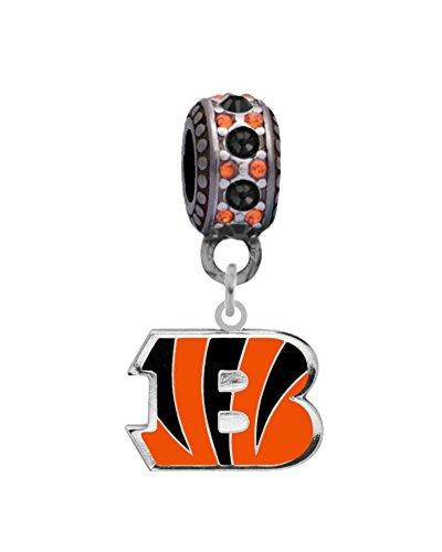 Cincinnati Bengals Logo Charm Fits European Style Large Hole Bead Bracelets (Bengals Cincinnati Charm)