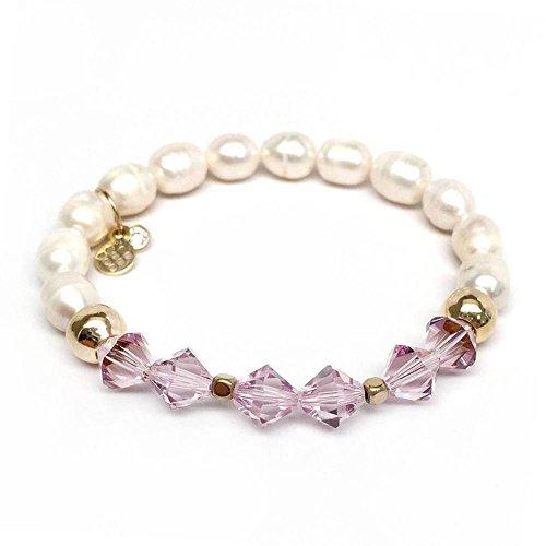 Chloe Sterling Silver Bracelet - Freshwater Pearl and Purple Swarovski Crystal