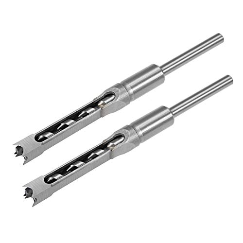 uxcell Square Hole Drill Bit for Wood 1/2 inch Hollow Chisel Mortiser Auger Spur Cutter Tool, High Carbon Steel for Woodworking Carpentry 2pcs ()