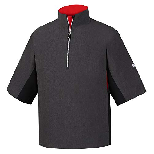 FootJoy Hydrolite Short Sleeve Rain Golf Pullover 2018 Heather Charcoal/Black/Red Large