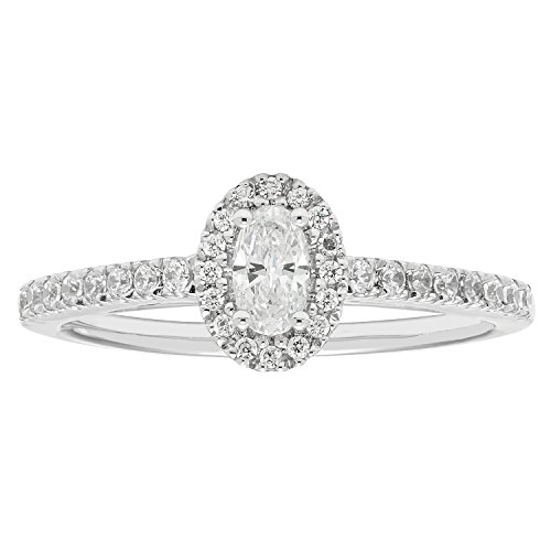 14K White Gold .47 Ctw. Oval and Round Cut Diamond Engagement Ring (SI1-SI2) by Boston Bay Diamonds