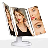Outtop Lighted Makeup Mirror, LED Vanity Makeup Mirror with Lights and 3X/2X Magnification, Dimmable Touch Screen Tabletop Cosmetic Mirrors, 180 Degree Free Rotation, Battery or USB Charging, White