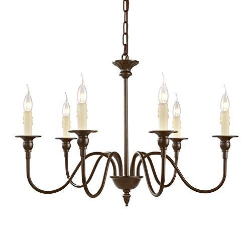 "LNC A02995 25.6"" Chandelier, 6-Light, Oil Rubbed Brown Finish for Dining, Living Room from LNC"
