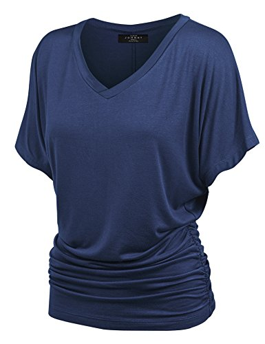 Cinched Top Side - Made By Johnny MBJ WT1037 V Neck Short Sleeve Dolman Top with Side Shirring L Navy