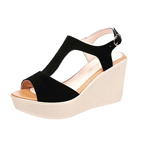 HLHN Women Sandals,Roman Fish Mouth Ankle Buckle Strap Thick-Bottom Platform Wedge High Heel Peep-Toe Slope Shoes Casual Lady Black