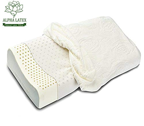 ALPHA LATEX Latex Pillow, Contoured Pillow Thailand Natural Latex Organic Pillow Neck Pain Bed Pillow for Sleeping - Low&High Ergonomic Contour Design for Back &Side ()