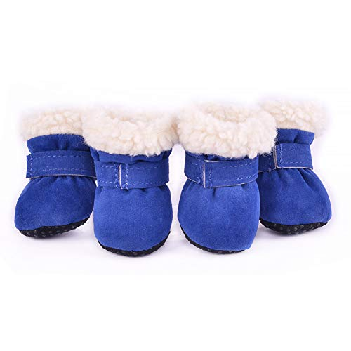 Skid Dog Boots (Hdwk&Hped Warm Small Dog Snow Boots Waterproof Suede Puppy Cat Booties Anti-Skid Pet Winter Shoes Blue #4)