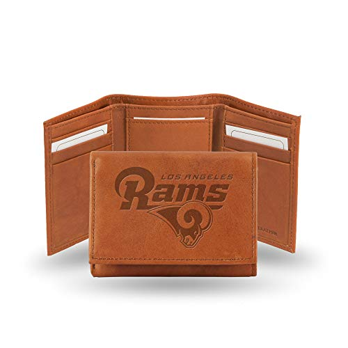 NFL Los Angeles Rams Embossed Leather Trifold Wallet, Tan ()