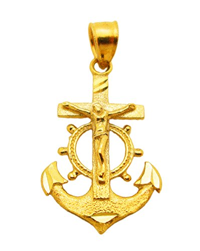 AMZ Jewelry 10k Yellow Gold Mariners Anchor Crucifix Pendant Anchor Charm