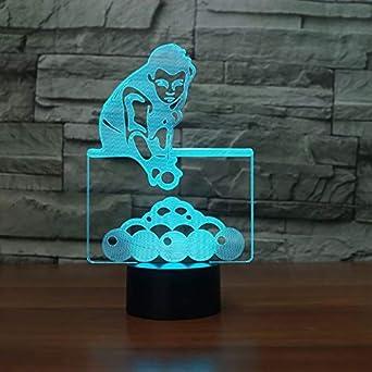 7 colores que cambian el juego de billar hombre lámpara de mesa 3D ...