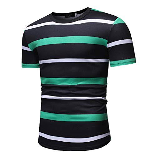 Puma Striped Shorts - Pongfunsy Men's Summer Top Mens Casual Crewneck Short Sleeve Fashion Striped T-Shirt Splicing Funny Pattern Shirts 2019 (XL, Green)