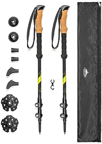 Cascade Mountain Tech Carbon Fiber Adjustable Trekking Poles 2 Pack