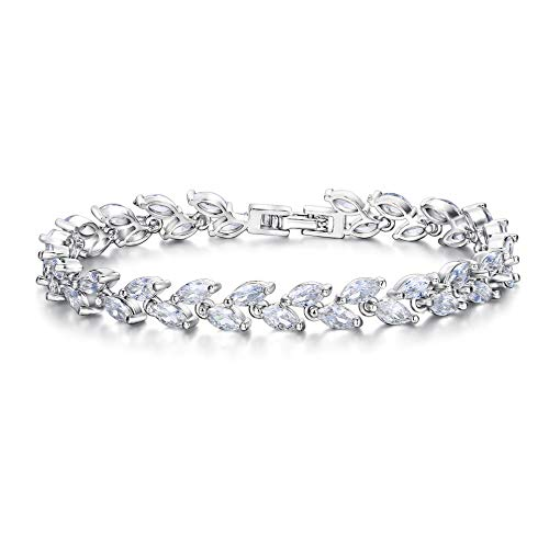 EVER FAITH Silver-Tone Zircon Wedding 2 Layers Small Leaf Roman Tennis Bracelet Clear]()