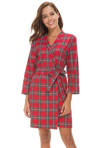(Costyleen Women Short Spa Robes Plaid Homewear Pockets Kimono Lounge Bathrobe Red XL)