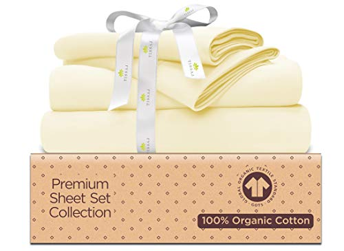 500-Thread-Count Organic Cotton Bed Sheets-Set - 500TC Full Size Natural - 4 Piece Bedding - 100% GOTS Certified Extra Long Staple, Soft Sateen Weave - Fits 14