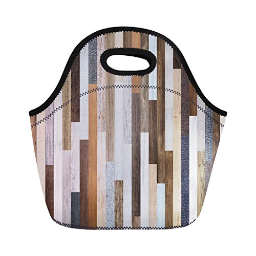 Semtomn Neoprene Lunch Tote Bag Pallet Wood Colorful Planks Rustic Abstract Aged Beautiful Beech Reusable Cooler Bags Insulated Thermal Picnic Handbag for Travel,School,Outdoors,Work