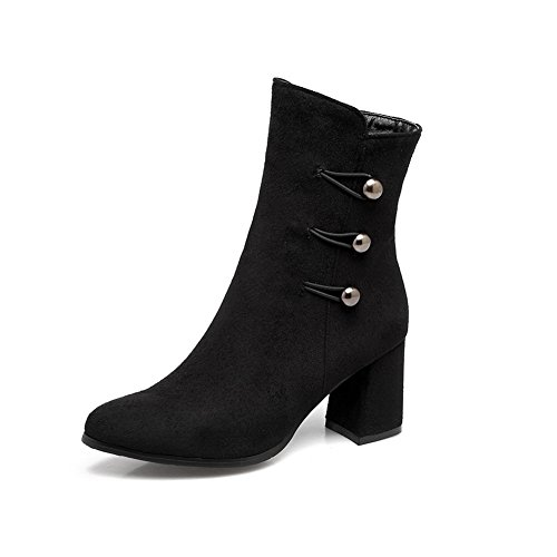1TO9 Womens Boots Closed-Toe Zipper Removable-Strap Kitten-Heel Solid Warm Lining Rubber Not_Water_Resistant Fur-Lined Urethane Boots MNS02673 Black rWuMQQWQE