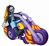 GOOSH 6 Foot Long Halloween Inflatables Blow Up Grim Reaper Flaming Motorcycle for Halloween Outdoor Yard Decoration,Halloween Reaper with LED Decorations
