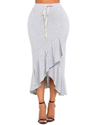 GRAPENT Women's Casual High Waist Ruffle Asymmetrical Hem Bodycon Long Skirt Size XX-Large (Fit US 20 - US 22)