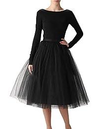 Women's 6 Layer Short A Line Elastic Waistband Tutu Tulle Prom Princess Midi Dance Skirt