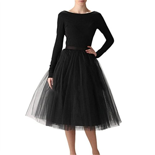WEISIPU Women's 7 Layer Short A Line Elastic Waistband Tutu Tulle Prom Princess Midi Dance Skirt Black 3XL
