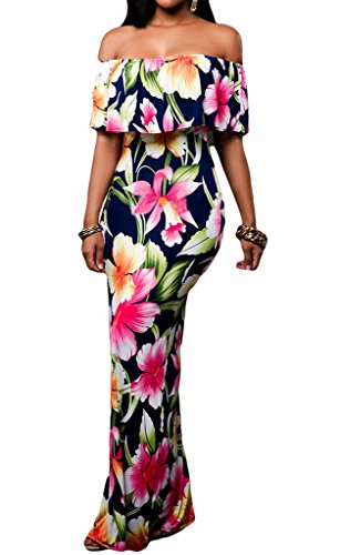 Prom Floral Off Shoulder Bodycon Maxi Dress for Evening, Large Navy Blue