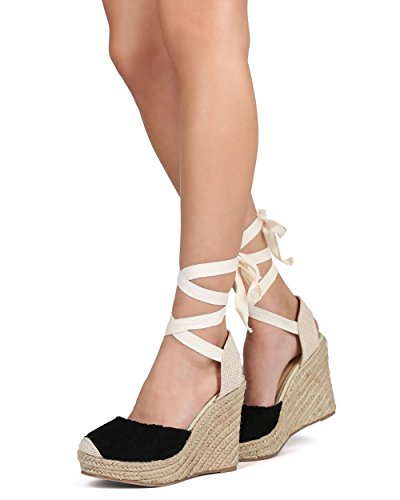 Wild Diva Maegan-32 Women Floral Crochet Ankle Wrap Slingback Espadrille Wedge - Black,Black,6.5