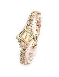 Baishitop Womens Crystal Leaf Shape Rhombus Bracelet Bangle Wrist Watch(Gold)