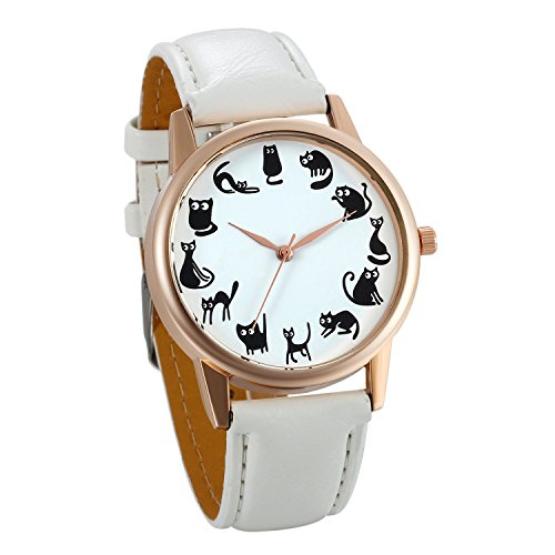 JewelryWe Women Watches Cute Animal Cats Round Dial PU Leather Strap Ladies Girls Quartz Wrist Watch – White