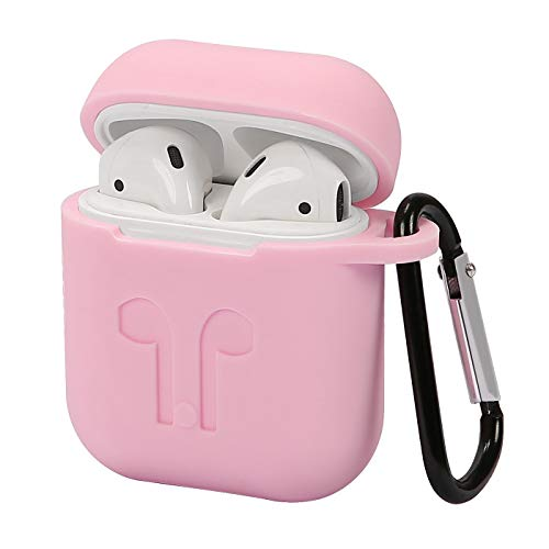 HDE Silicone Case for AirPods Protective Silicone Cover Skin for Apple AirPods Charging Case with Carabiner Keychain Belt Clip (Pink)