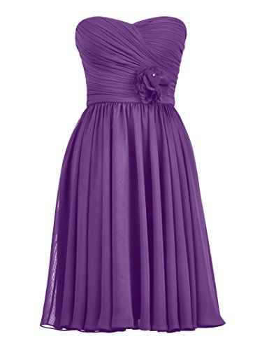 Party Chiffon Cocktail Alicepub Purple Women's Sweetheart Dress Dress Short Bridesmaid vH0qH5