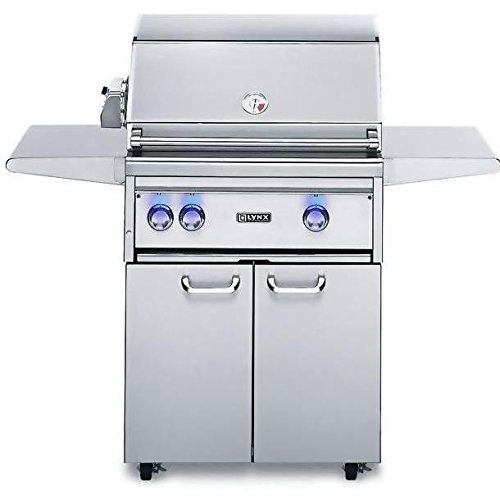 Lynx L27PSFR-3-NG Natural Gas Grill on Cart with ProSear Burner and Rotisserie, (Additional Steel Burner)