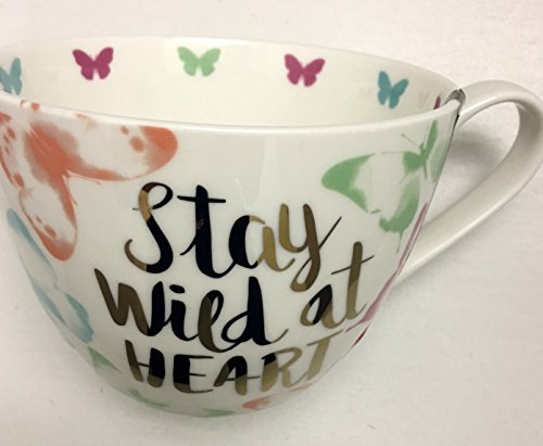 Portobello by Inspire Oversize Bone-China Butterfly Coffee Tea Cup Mug with Inscribed