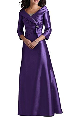 Ausschnitt Taft Liebling Damen 4 Festkleid Mutterkleid Aermel Abendkleid V Linie A Lang Violett Ivydressing 3 Abendkleid qxYAwTg5vv