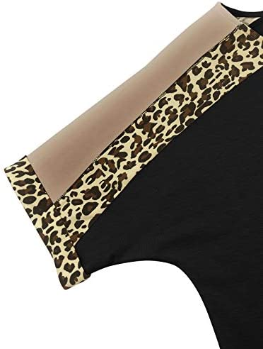 PRETTODAY Women's Leopard Print Short Sleeve Shirts V Neck Color Block Tops Casual Loose Blouses