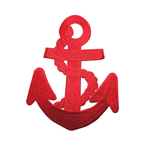 ID 5075 Red Anchor Large Patch Nautical Ship Symbol Embroidered Iron On Applique