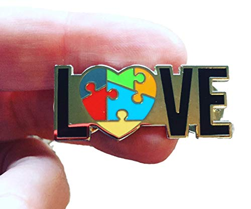 (Autism Awareness Love Heart Puzzle Enamel Lapel Pin for backpacks, jackets, purses, hats and more)