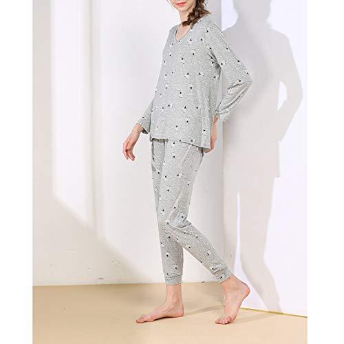 Color Size set Gray2 Amabubblezing maglia mod pigiami lavorato V donna maniche scollo per pigiama lunghe Pigiama a Size a a Gray1 da S pantaloni con di Plus wxqSFBfOw