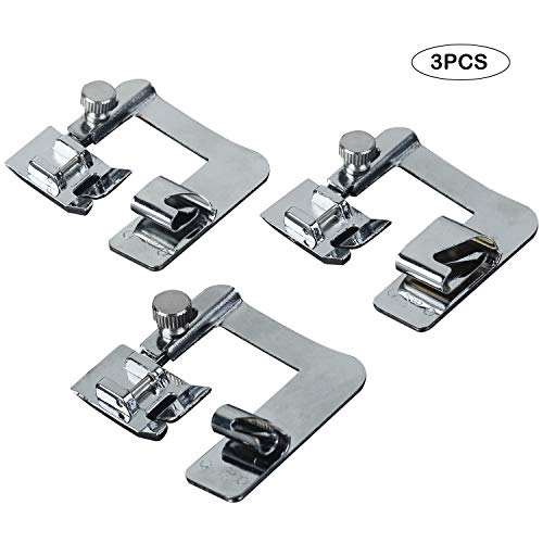 (3PCS Rolled Hem Sewing Machine Presser Foot Fits All Low Shank Snap)