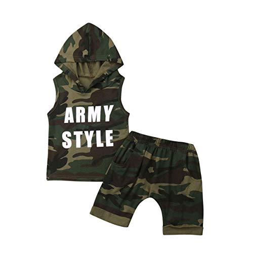 Newborn Baby Boy Girl Sleeveless Hooded Top T-Shirt+Short Pants Toddler Boy Girl Clothes Tracksuit Outfit (Camouflage, 2-3t)