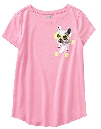 (Crazy 8 Girls' Little Short Sleeve Curve Hem Graphic Tee, Begonia Pink Frenchie Skateboard, S)