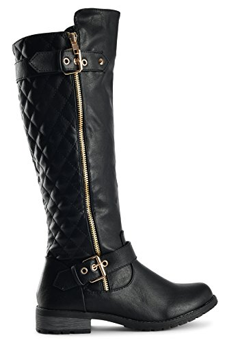 Zipper Quilted Riding Boots 21 Pu Forever Link Mango Black Women's Accent wx6CWOAqn