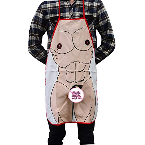 Pre-fashion Creative Funny Apron Weird Gifts Kitchen Cooking Men Women Novelty Apron Carnival Halloween Costume Cosplay Party Show (Men) ()