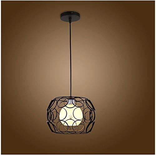 Oudan Pendentif lumière Lustre rétro Fer Art personnalité Minimaliste Arts Lampe Noir 12W lumière Chaude 32  21Cm